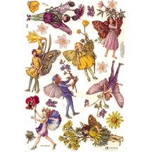 Purple & Yellow Flower Fairies Scraps ~ England ~ Out of Print