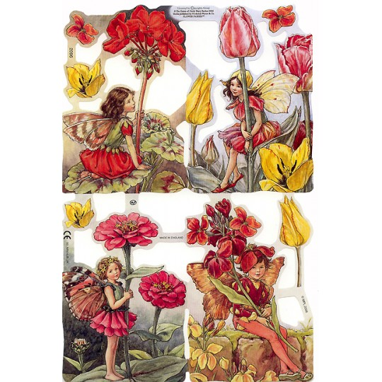 Red & Yellow Flower Fairies Scraps ~ England ~ Out of Print