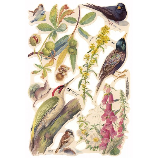 Botanical Birds & Flowers Scraps ~ England