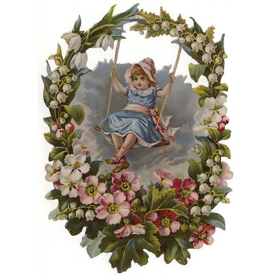Girl Swinging in Flower Wreath Large Scrap ~ Germany