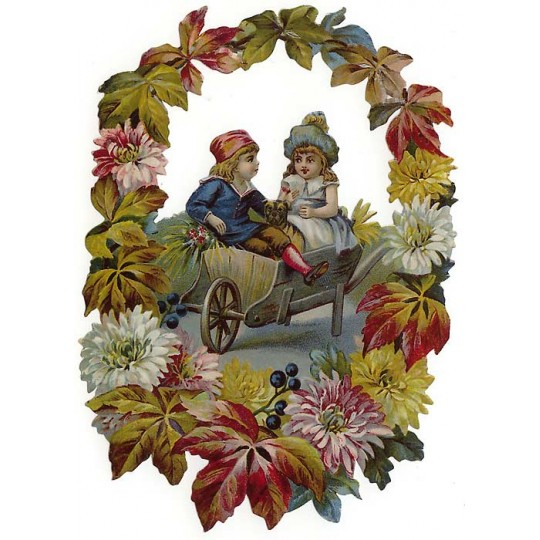 Children in Wheelbarrow with Autumn Flowers Large Scrap ~ Germany