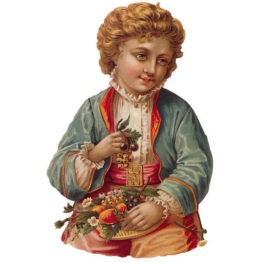 Victorian Boy with Fruit Bowl Large Scrap ~ Germany