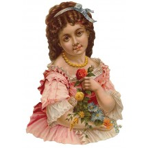 Victorian Girl with Flowers Large Scrap ~ Germany