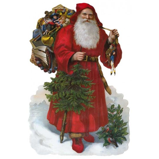 Large Victorian Santa with Red Coat Scrap ~ Germany