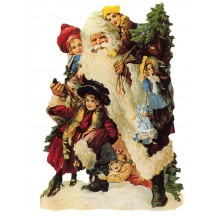 Victorian Santa with Children Large Scrap ~ Germany