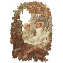 Winter Children in Snowy Berry Wreath Large Scrap ~ Germany