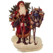 Large Victorian Santa & Donkey Scrap ~ Germany