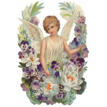 Angel with Lotus and Pansies Large Scrap ~ Germany
