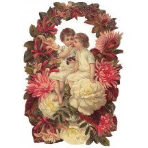Children in Autumn Flower Wreath Large Scrap ~ Germany
