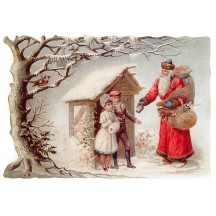 Large Snowy Santa & Children Scrap ~ Germany