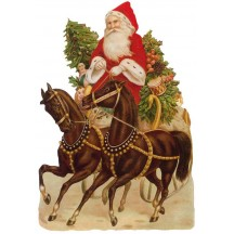 Victorian Santa with Horses Large Scrap ~ Germany