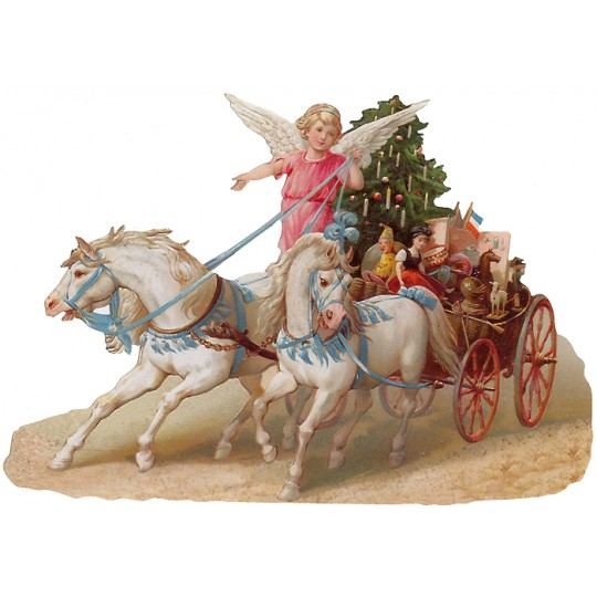 Large Angel Christmas Carriage Scrap ~ Germany