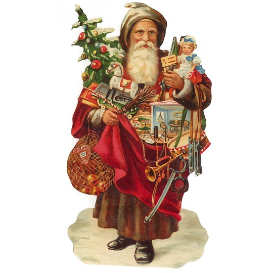 Large Victorian Santa & Toys Scrap ~ Germany ~ New for 2012