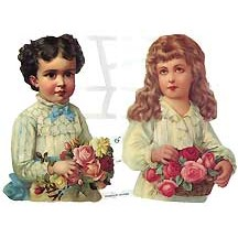 Large Victorian Children with Roses Scraps ~ Germany