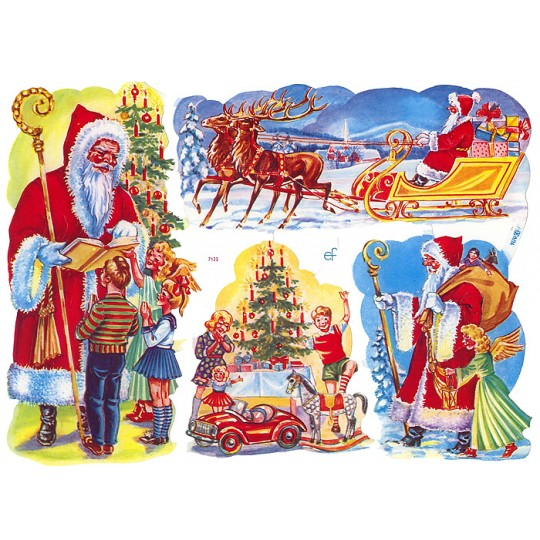 Colorful Santa and Children Christmas Scraps ~ Germany