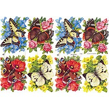 Flower and Butterflies Scraps ~ Germany
