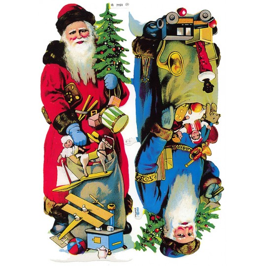 Two Large Old Time Santa Scraps ~ Germany