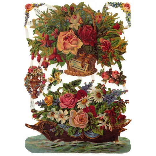 Large Boat and Basket Flower Scraps ~ Germany
