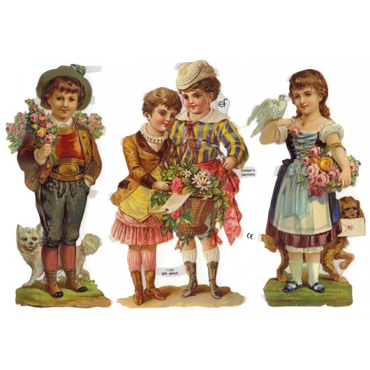 Large Victorian Children with Flowers Scraps ~ Germany