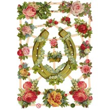 Good Luck Horseshoe & Roses Scraps ~ Germany