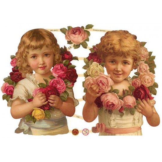 Large Victorian Children & Rose Garland Scraps ~ Germany