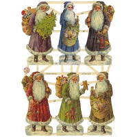 Old Time Santa Scraps with Glitter ~ Germany