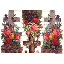Large Floral Crosses Easter Scraps ~ Germany