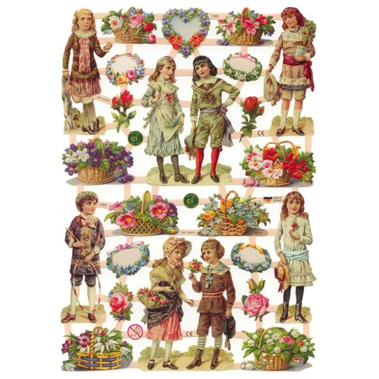 Victorian Children & Flower Basket Scraps ~ Germany ~ New for 2012