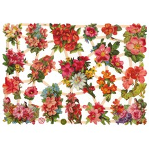 Red & Pink Flower Bouquet Scraps ~ Germany ~ New for 2012