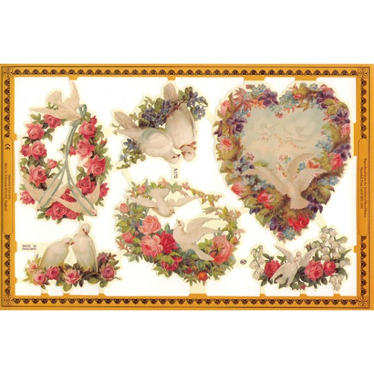 Love Birds and Florals Scraps ~ England