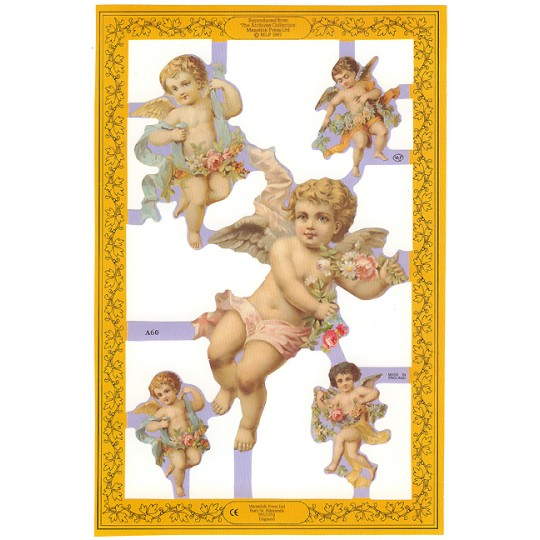 Pastel Cherubs with Flowers Scraps ~ England