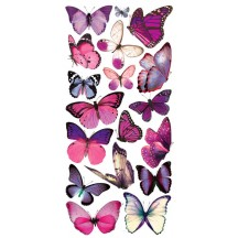 1 Sheet of Stickers Purple and Pink Butterflies