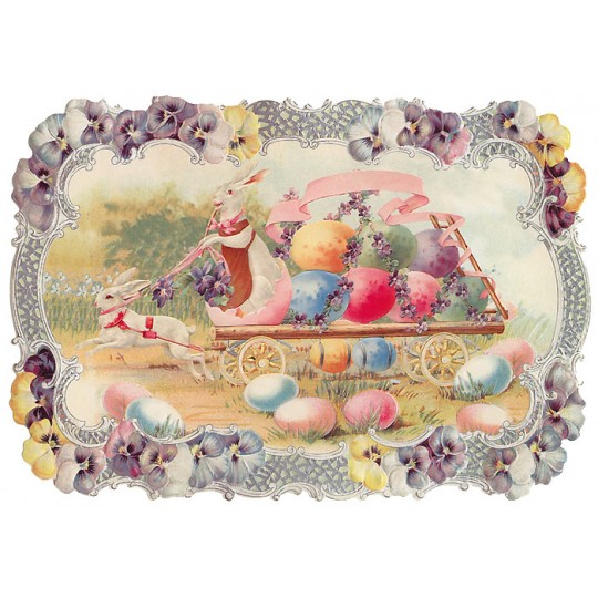 Large Victorian Bunny Egg Cart Scrap ~ Germany ~ New for 2014