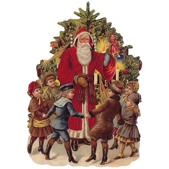 Large Victorian Santa with Children Scrap ~ Germany ~ New for 2014