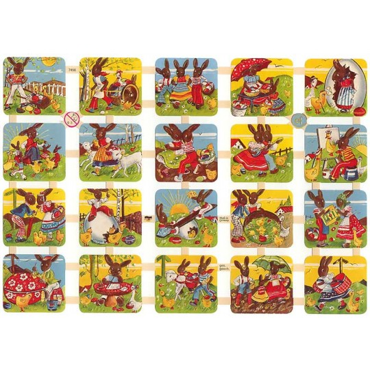Mixed Sunny Easter Bunny Scenes Scraps ~ Germany