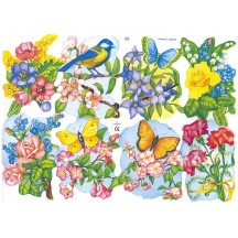 Colorful Springtime Flowers, Birds & Butterflies Scraps ~ England