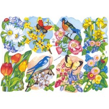 Colorful Flowers, Birds & Butterflies Scraps ~ England