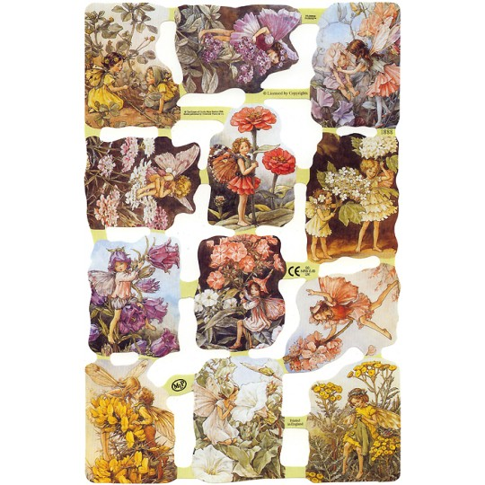 Mixed Flower Fairies Scraps Dark Backgrounds ~ England ~ Out of Print