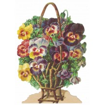 Large Pansy Basket Scrap ~ Germany
