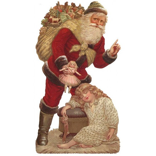Large Santa with Victorian Girl Scrap ~ Germany ~ New for 2013