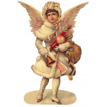 Large Winged Angel with Toys Scrap ~ Germany ~ New for 2013
