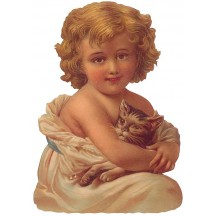 Victorian Girl with Her Cat Large Scrap ~ Germany ~ New for 2013