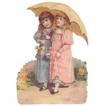 Victorian Girls with Umbrella Large Scrap ~ Germany ~ New for 2013