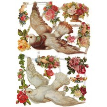 Large Doves and Flowers Scraps with Glitter ~ Germany
