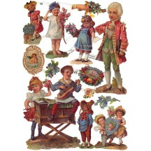 Mixed Victorian Children & Flowers Scraps ~ Germany