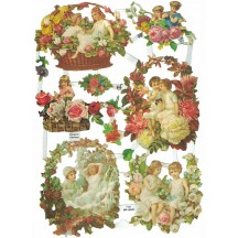 Children & Autumn Floral Frames Scraps ~ Germany