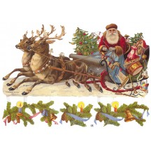 Large Santa in Sleigh and Greenery Scraps ~ Germany