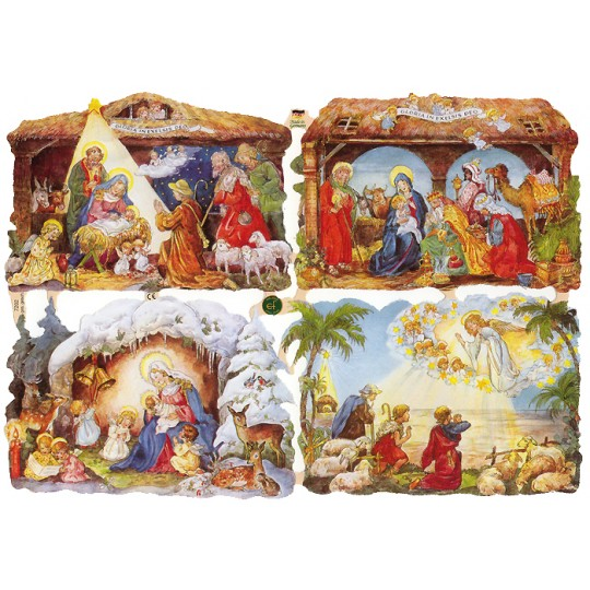 Charming Nativity Scene Manger Scraps ~ Germany