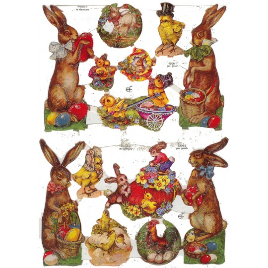 Bunny & Chick Easter Scraps with Glitter ~ Germany