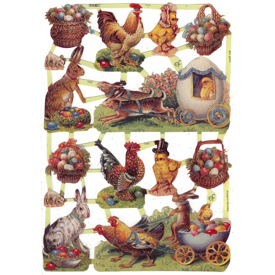 Bunny & Rooster Easter Scraps with Glitter ~ Germany